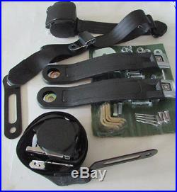 1964-75 GM Buckle Black Seat Belt Retractable Lap Shoulder Harness Set, Buckets