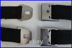 1964 Corvette Original Black seat belts pair, IC-8000 buckles, Irving Air chute