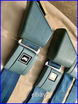 1967 Impala Oem Gm Front & Rear Seat Belts Standard Turquoise Lap Buckle Set