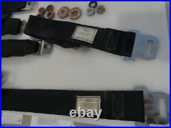 1969 69 Mustang Cougar Mach Eliminator BLACK Seat Belts & BUCKLES FULL SET