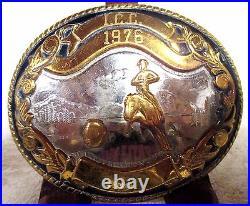 1976 I. C. C. Barrel Racing 1st Place Fancy Western Rodeo BELT BUCKLE