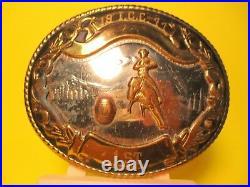 1977 I. C. C. 1st Place FANCY Barrel Racing German Silver Trophy Belt Buckle