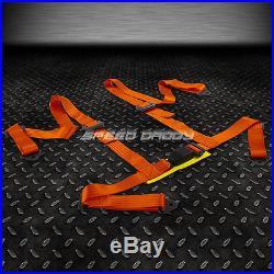 1X UNIVERSAL 4-POINT 2STRAP DRIFT RACING SAFETY SEAT BELT BUCKLE HARNESS ORANGE