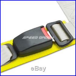1X UNIVERSAL 4-POINT 2 STRAP DRIFT RACING SAFETY SEAT BELT BUCKLE HARNESS WHITE