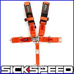 1 Orange 5 Point Racing Harness Adjustable Shoulder Safety Seat Lap Belt Buckle
