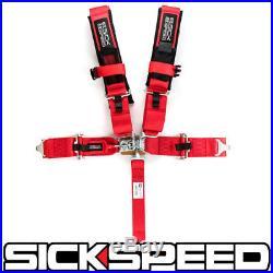 1 Red 5 Point Racing Harness Adjustable Shoulder Safety Seat Lap Belt Buckle