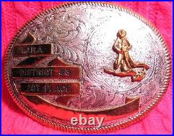 1st Place Roping MONTANA SILVERSMITHS I. J. R. A. Rodeo Trophy Belt Buckle