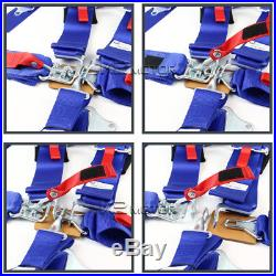 2PC Blue Nylon Strap Safety Racing Seat Belt Buckle 5 Point Latch n Link Harness