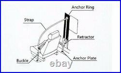 2Sets Beige 3 Point Car Front Seat Belt Buckle Kit Auto Retractable Safety Strap