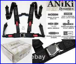 2X ANIKI BLACK 4 POINT AIRCRAFT BUCKLE SEAT BELT HARNESS with ULTRA SHOULDER PAD