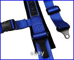 2X ANIKI BLUE 4 POINT AIRCRAFT BUCKLE SEAT BELT HARNESS with ULTRA SHOULDER PAD