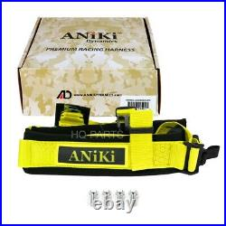 2X ANIKI YELLOW 4 POINT AIRCRAFT BUCKLE SEAT BELT HARNESS with ULTRA SHOULDER PAD