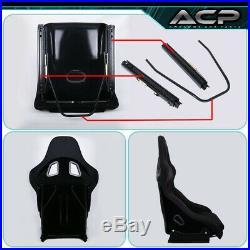 2X Black Cloth Racing Bucket Seat Red Stitching 2X 5Pt Black Seatbelt Harness