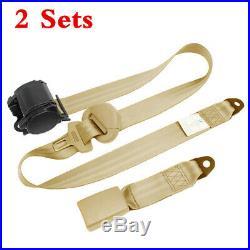 2 Set 3 Point Retractable Automatic Safety Straps Car Front Seat Belt Buckle Kit