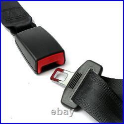 2 Set 3 Point Seat Belt Lap Diagonal Belt Buckle Kit Automatic Retractable Strap