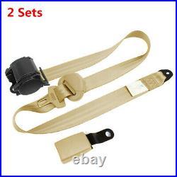 2 Sets Auto Car 3 Point Retractable Safe Seat Belt Beige withCurved Rigid Buckle