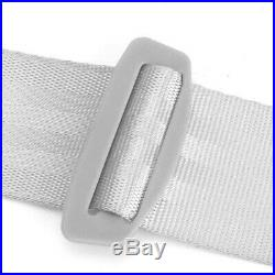 2 Sets Gray 3 Point Car Front Seat Belt Buckle Kit Retractable Safety Straps