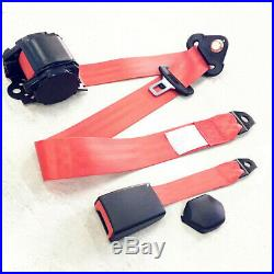 2 Sets Red 3 Point Car Front Seat Belt Buckle Kit Retractable Safety Straps