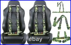2 X Tanaka Buggy Series Universal Camouflage 3 Point Buckle Seat Belt Harness