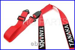 2 X Tanaka Buggy Series Universal Red 3 Point Buckle Racing Seat Belt Harness