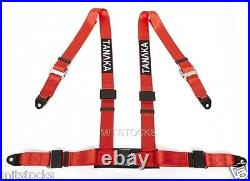 2 X Tanaka Universal Red 4 Point Ez Release Buckle Racing Seat Belt Harness New