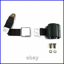 2pt Black Retractable Airplane Buckle Lap Seat Belt with Anchor Hardware Hot rods