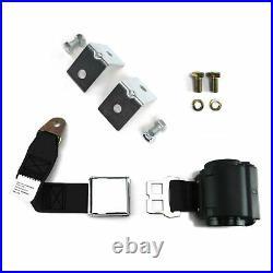 2pt Black Retractable Airplane Buckle Lap Seat Belt with Anchor Hardware SafTboy