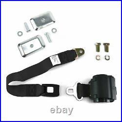 2pt Black Standard Buckle Retractable Lap Seat Belt with Flat Plate Hardware