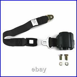 2pt Black Standard Buckle Retractable Lap Seat Belt with Flat Plate Hardware hot