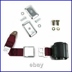 2pt Burgundy Airplane Buckle Retractable Lap Seat Belt withPlate Hardware
