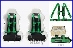 2x Aniki Green 4 Point Aircraft Buckle Racing Seat Belt Harness Fits Polaris Utv