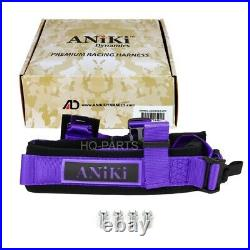 2x Aniki Purple 4 Point Aircraft Buckle Racing Seat Belt Harness For Polaris Utv