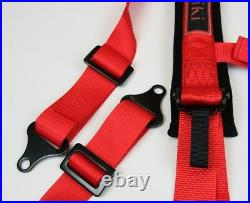 2x Aniki Red 4 Point Aircraft Buckle Racing Seat Belt Harness Ultra Shoulder Pad