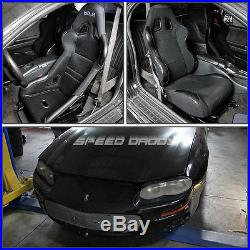 2x Pvc Leather Racing Seat+4-point Black Buckle Belt+bracket For Camaro/trans Am