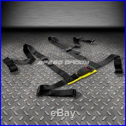 2x Type-r Black Canvas Reclinable Racing Seat+4-point Black Harness Buckle Belt