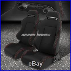 2x Type-r Black Canvas Reclinable Racing Seat+4-point Red Harness Buckle Belt