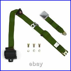 3Pt Army Green Retractable Seat Belt Airplane Buckle Each RAAG