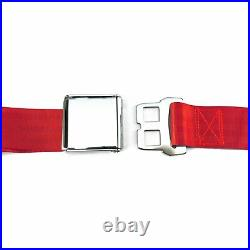 3Pt Red Retractable Seat Belt Airplane Buckle Each streets rods hot rods