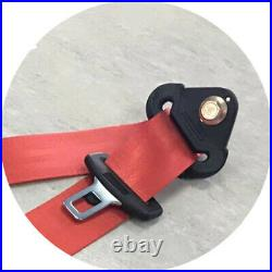 3 Point 2 Sets Red Car Front Seat Belt Buckle Kit Auto Retractable Safety Straps
