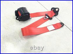 3 Point Car Seat Belt Buckle Kit Red Polyester Safety Strips Webbing Adjustable