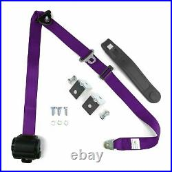 3 Point Retractable Purple Seat Belt With Mounting Brackets Standard Buckle