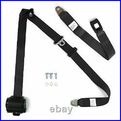 3pt Bench Seat Belt Conversion/Replacement Black Retractable Standard Buckle Ea