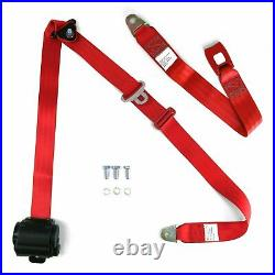 3pt Bench Seat Belt Conversion/Replacement Red Retractable Standard Buckle Ea