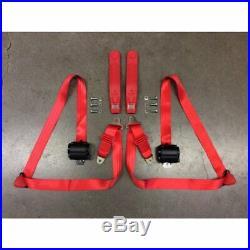 3pt Red Retractable Seat Belt Standard Buckle Each v8 muscle car hot rod gm v6