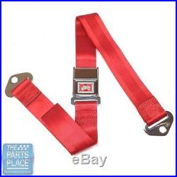 65 GM A / B & X Body Cars Deluxe Rear Chrome Buckle Red Webbing Seat Belt Each