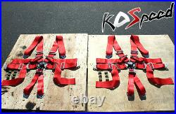 6point Camlock 3red Strap Safety Adjustable Buckle Seat Belt/belts Harness X2