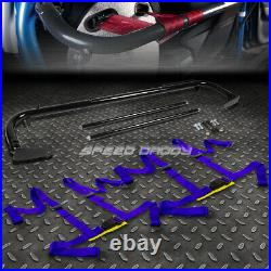 Black 49stainless Steel Chassis Harness Bar+blue 4-pt Strap Buckle Seat Belt