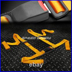 Black 49stainless Steel Chassis Harness Bar+gold 4-pt Strap Buckle Seat Belt