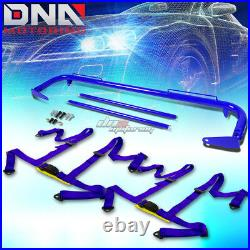 Blue 49stainless Steel Chassis Harness Rod+blue 4-pt Strap Buckle Seat Belt