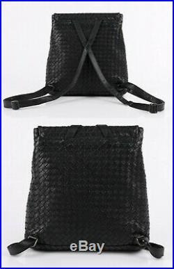 Bottega Veneta Black Intrecciato Woven Leather Seat Belt Buckle Backpack Purse